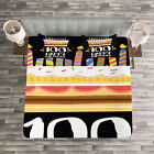 Colorful Quilted Bedspread & Pillow Shams Set, Milestone Party Print image