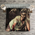 Zombie Quilted Bedspread & Pillow Shams Set, Scary Bloody Man Print image