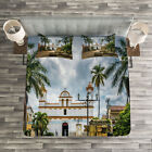 Travel Quilted Bedspread & Pillow Shams Set, Mayan Town with Palms Print image