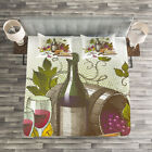Wine Quilted Bedspread & Pillow Shams Set, Vintage Wine and Cheese Print image