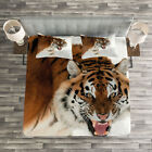 Tiger Quilted Bedspread & Pillow Shams Set, Panthera on Snow Close Up Print image