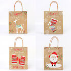 Christmas Kraft Paper Present Bags Festival Party Gift Wrapping Packing Hand Bag