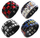 2pcs Red Studded Skull Silver Punk Rock Biker Snap On Cuff Bracelet Wristband