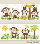 Внешний вид - Monkey Nursery Decals Wallpaper Border Baby Boy Wall Art Kids Room Stickers