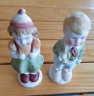 "Vintage - (2) 4.25"" H possibly Bisque figurines -a boy, and a girl w/backback"