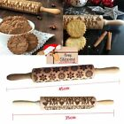 Flower Wood Rolling Pin Embossing Baking Cookies Biscuit Fondant Christmas USA