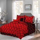 Red 10 Piece Bed In a Bag Luxurious Comforter Set SHEET SET INCLUDED