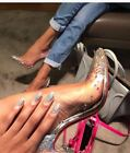 Cape Robbin Clear Silver Dress Pump Hologram Rhinestone Pointed Toe Stiletto