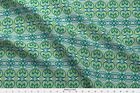 2084 Art Nouveau Stained Glass Window Oval Fabric Printed by Spoonflower BTY
