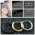2pc Pair Round Small Hoop Titanium Sleeper Earrings Mens 316l Stainless Steel