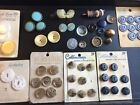 Vintage Antique Button Lot Mother Of Pearl Brass Satin Fabric Original Cards