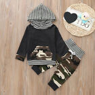2PCS Newborn Baby Boy Camouflage Hoodie Striped T shirt Tops Pants Clothe K8