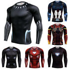 Men Marvel Superhero T-shirt Athletic Fitness Compression Gym Jersey Tops Tee image