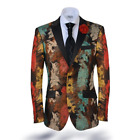 Angelino Pop 2 Men's Two Button Modern Fit Mess Blazer Sport Coat Brown Multi
