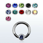 16G Captive Bead Ring Septum Earrings Surgical Steel with 3 mm CZ Gems