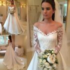 V-neck Long Sleeve Wedding Dresses Button up Back Chapel Train Lace Bridal Gowns