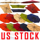 US 9'10'15' Offset Umbrella Large Patio Garden Outdoor Led Lights Beach Umbrella
