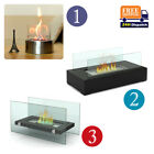 Glass Bio Ethanol Fireplace Indoor Outdoor Camping Table Top Burner Safe Steel