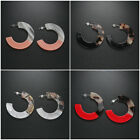 Jewelry Color Blocking Hoop Earrings Round Circle Acrylic Resin  Tortoise Shell