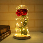 Enchanted Forever Rose Flower In Glass Led Light Wedding Party Home Xmas Decor