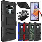 For LG Rebel 4 LTE (L212VL) Case Hybrid Clip Stand Cover+Glass Screen Protector