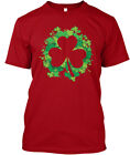 Clover Patch Shamrock Outline Hanes Tagless Tee T-Shirt