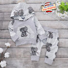 Infant Nweborn Baby Boys Tracksuit Outfit Set Elephant Hoodie Tops+Long Pants US