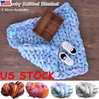 Large Soft Chunky Knitted Thick Blanket Hand Yarn Wool Bulky Throw Sofa Blanket image