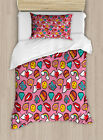 Emoji Duvet Cover Set with Pillow Shams Dotted Hearts Rainbow Print