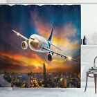 Travel Shower Curtain Night Scene with Plane Print for Bathroom