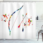 Modern Shower Curtain Abstract Bow and Arrow Print for Bathroom