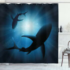 Shark Shower Curtain Fish Silhouettes Swimming Print for Bathroom