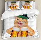 Cat Duvet Cover Set with Pillow Shams Cool Cat Hat Beer Mug Funny Print