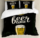 Modern Duvet Cover Set with Pillow Shams Beer Time and Old Watch Print