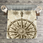 Compass Quilted Bedspread & Pillow Shams Set, Sun Motifs Sepia Icon Print image