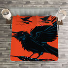 Indie Quilted Bedspread & Pillow Shams Set, Raven with Microphone Print image