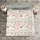 Paris Quilted Bedspread & Pillow Shams Set, Lovers in Streets Flowers Print image