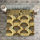 Egyptian Quilted Bedspread & Pillow Shams Set, Folkloric Ornaments Print image
