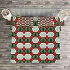 Geometric Quilted Bedspread & Pillow Shams Set, Hexagons with Snow Print image