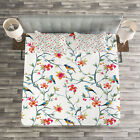 Watercolor Quilted Bedspread & Pillow Shams Set, Birds on Branches Print