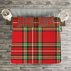 Plaid Quilted Bedspread & Pillow Shams Set, Irish Cultural Classical Print image