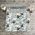 Owls Quilted Bedspread & Pillow Shams Set, Winter Snow Xmas Doodle Print image