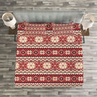Nordic Quilted Bedspread & Pillow Shams Set, Scandinavian Xmas Snow Print image