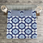 Blue Quilted Bedspread & Pillow Shams Set, Portuguese Azulejo Mosaic Print image