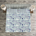 Umbrella Quilted Bedspread & Pillow Shams Set, Artistic Canopies Print image