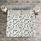 Dog Lover Quilted Bedspread & Pillow Shams Set, Dachshund Silhouette Print