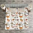 Dog Lover Quilted Bedspread & Pillow Shams Set, Cartoon Characters Print
