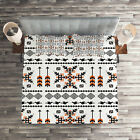 Tribal Quilted Coverlet & Pillow Shams Set, Ethnic Birds Arrows Print
