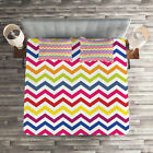 Colorful Quilted Coverlet & Pillow Shams Set, Rainbow Chevron Fun Print image