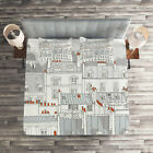 Cityscape Quilted Coverlet & Pillow Shams Set, Paris Aerial Scenery Print image